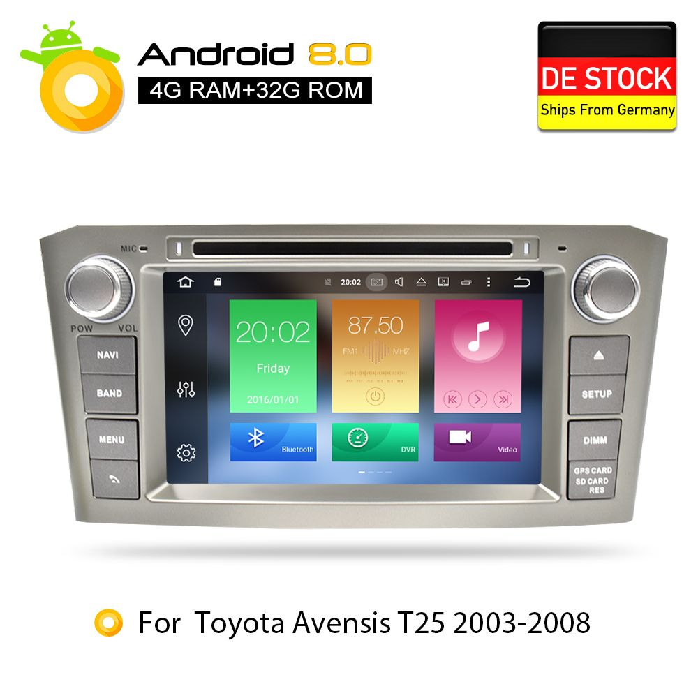 4G RAM Android 8.0Car DVD Stereo Multimedia Headunit For Toyota Avensis/T25 2003-2008 Auto Radio GPS Navigation Video Audio