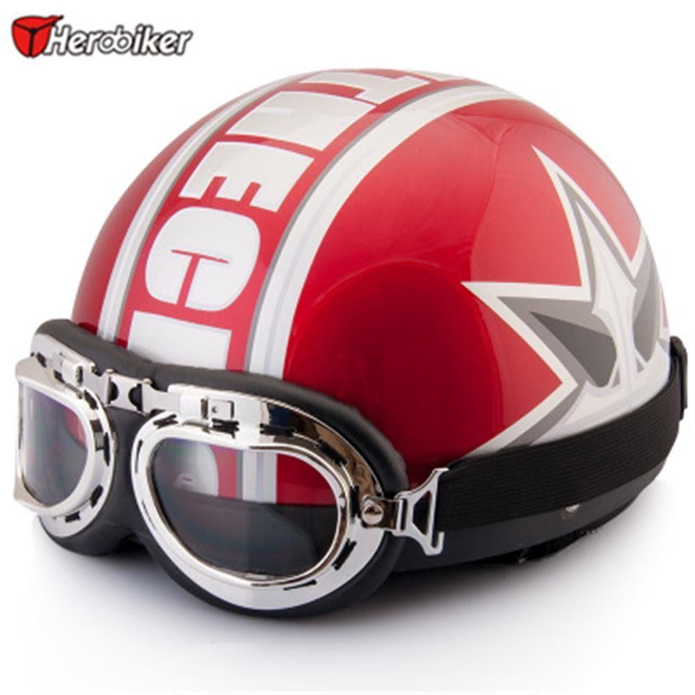 2017 New Unisex Vintage Open Face Half Blue Motorcycle Motorbike Helmet & Goggles & Visor