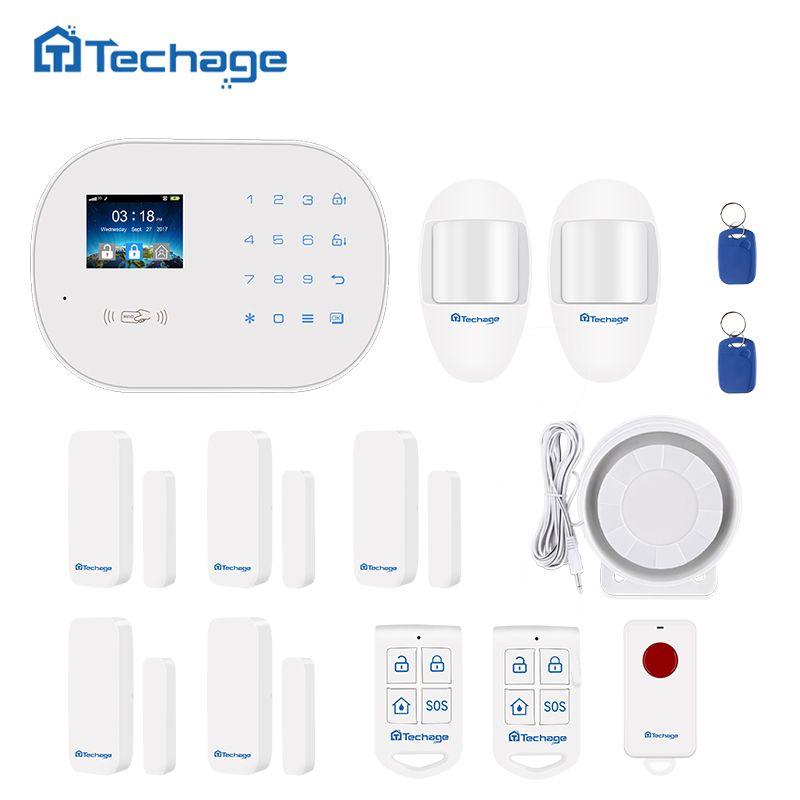 Techage S6 GSM GPRS PSTN Wireless Alarm System Kit PIR Motion Detector Smart Sensor Home Burglar Security Alarm System