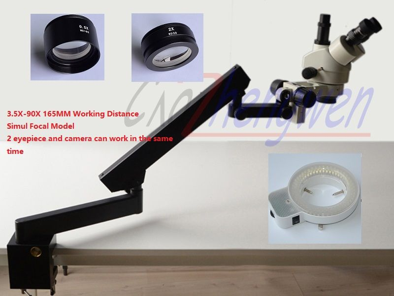 FYSCOPE 3.5X-90X SIMUL FOCAL STEREO ZOOM MICROSCOPE +ARTICULATING STAND WITH CLAMP+144LED