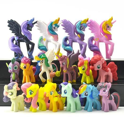 16pcs/set Princess Celestia Princess Luna Cartoon Pets Horse Unicorn Action Toy Figures Christmas Little Gift