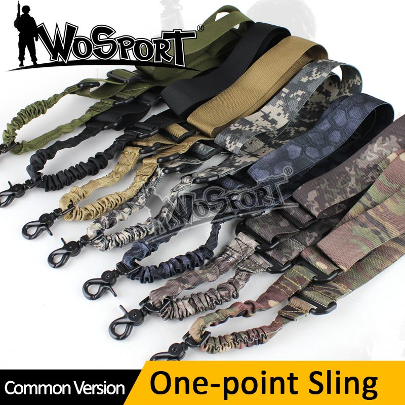 WOSPORT Tactique 1 Un Point Unique Airsoft Militaire Tactique Gun Arme Réglable En Nylon Bungee Sling Système Kaki Sangle