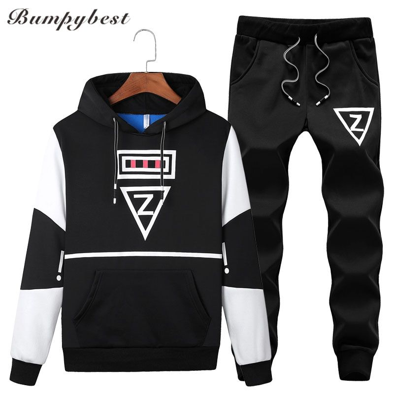 Bumpybeast 2018 Casual set men Black grey white hooded tracksuit men's sportswear Pockets letter print large Asia size M-5XL
