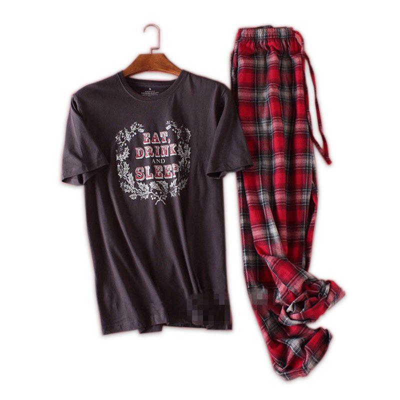 Vente grande taille 100% coton pyjamas hommes pyjamas hombre manches courtes décontracté Nuit hommes homewear ensembles de pyjamas pour homme 130kg