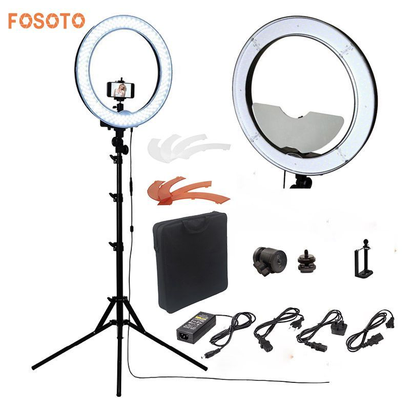 fosoto Camera Photo/Studio/Phone/Video RL-18 55W 240 LED Ring Light 5500K Photography <font><b>Dimmable</b></font> Ring Lamp With Mirror/Tripod