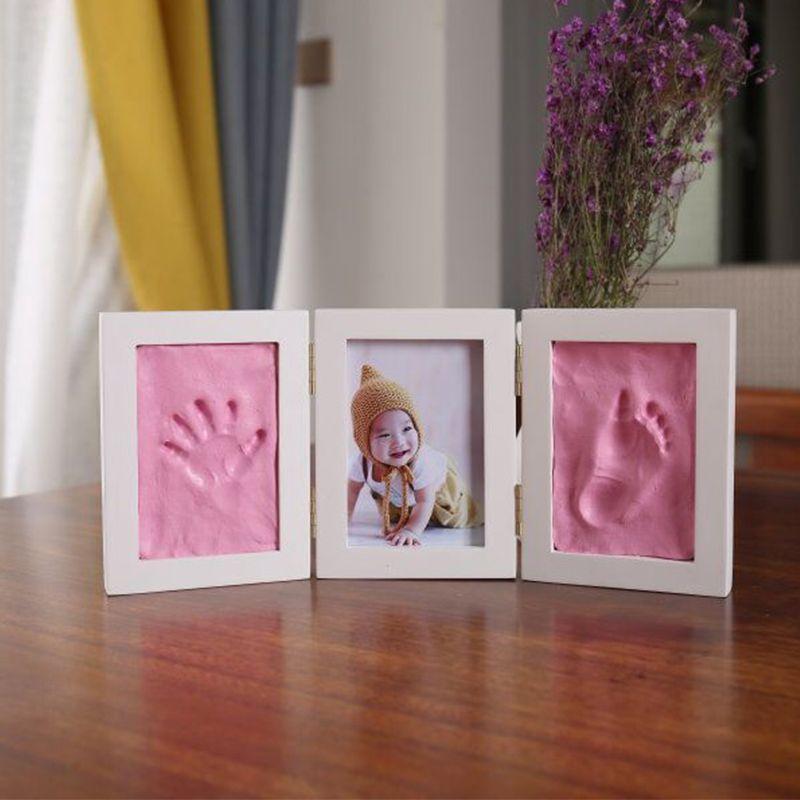 Mignon bébé cadre photo à faire soi-même impression à la main impression séchage à l'air doux argile empreinte enfants moulage Parent-enfant main inkpad empreinte digitale