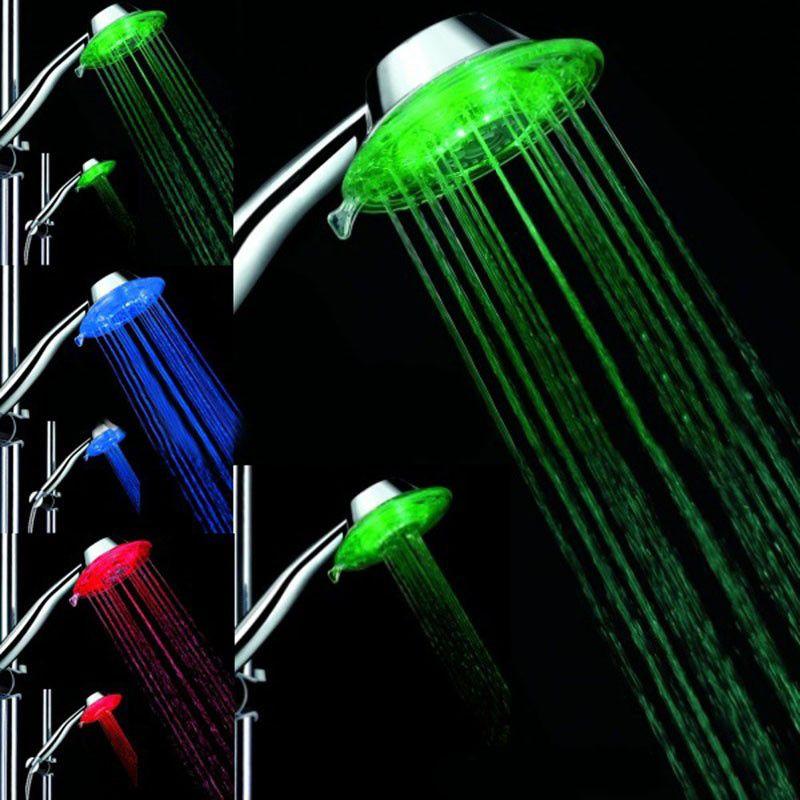 Dusche barh Hohe Qualität Led duschkopf pommeau douche Bad Wasser Leuchten Bunte LED Duschkopf Mit Temperatursensor