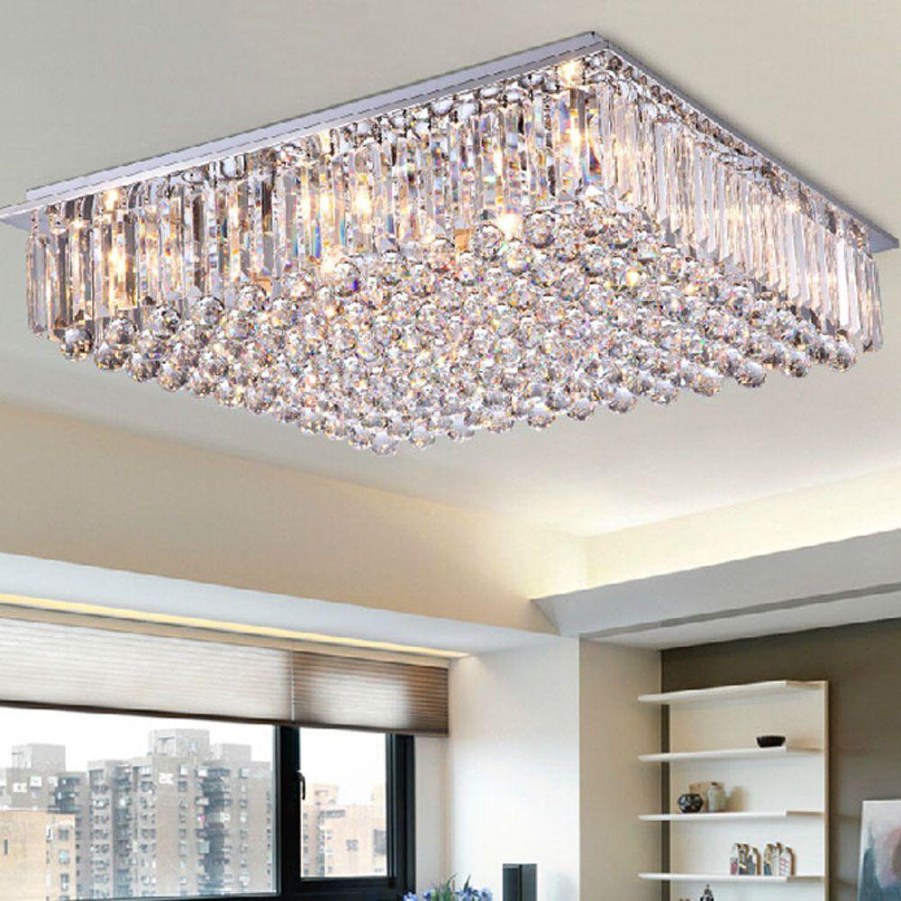 Modern led dining room chandelier large crystal lamp bedroom atmosphere living room lights colorful simple rectangular villa