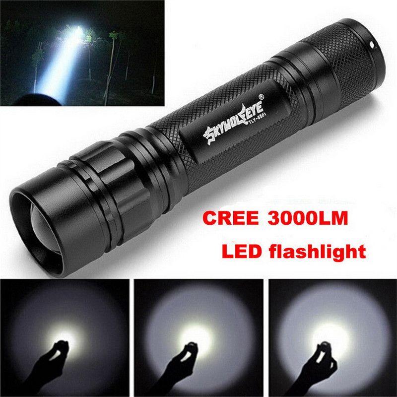 Черный XM-L T6 3000 люмен 3 режима светодио дный Факел Масштабируемые светодио дный фонарик Алюминий сплав Torch Light для 1x18650 VEJ93 P0.11
