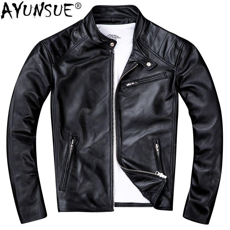 AYUNSUE Echtem Schaffell Leder Jacke Männer Kleidung 2019 Neue Echt Leder Motorrad Jacken Vintage Jaqueta De Couro ZL405