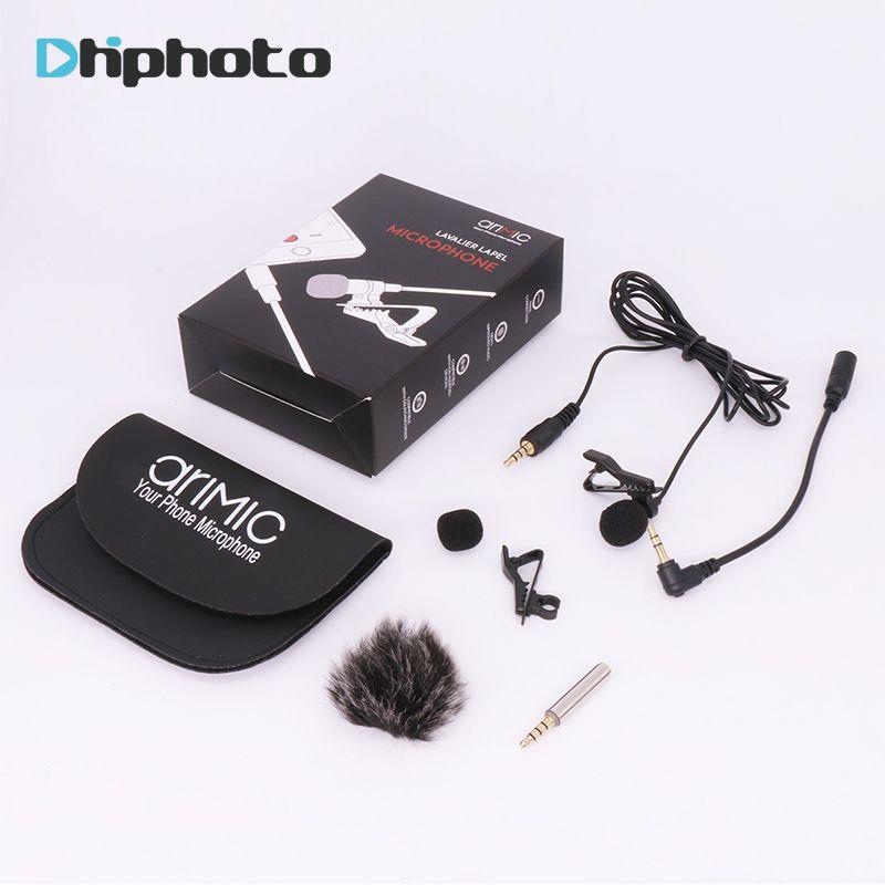 Arimic Cravate Revers Clip-sur Omnidirectionnel Microphone À Condensateur Kit avec câble adaptateur & pare-brise pour iPhone Samsung