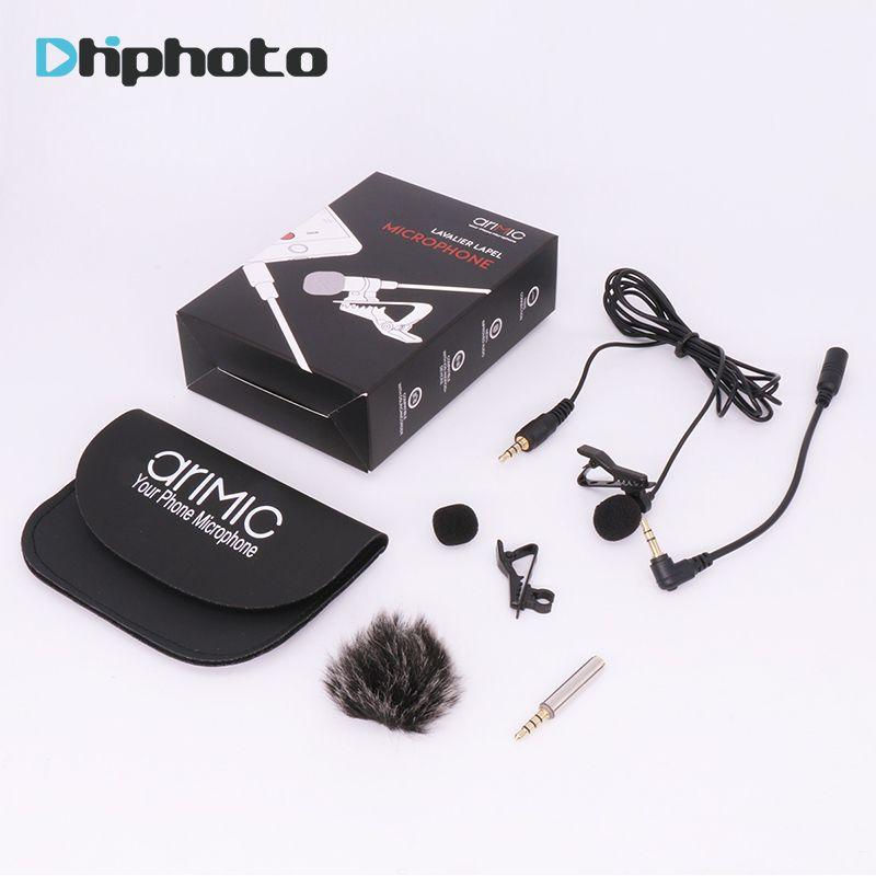 Arimic Lavalier Lapel Clip-on Omnidirectional Condenser Microphone Kit with <font><b>cable</b></font> adapter & windshield for iPhone Samsung