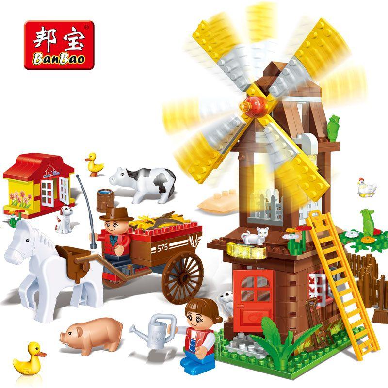 BanBao Windmill House Farm Countryside Animal Bricks Educational Building Blocks Model Toys Kids Children Compatible With Legoe