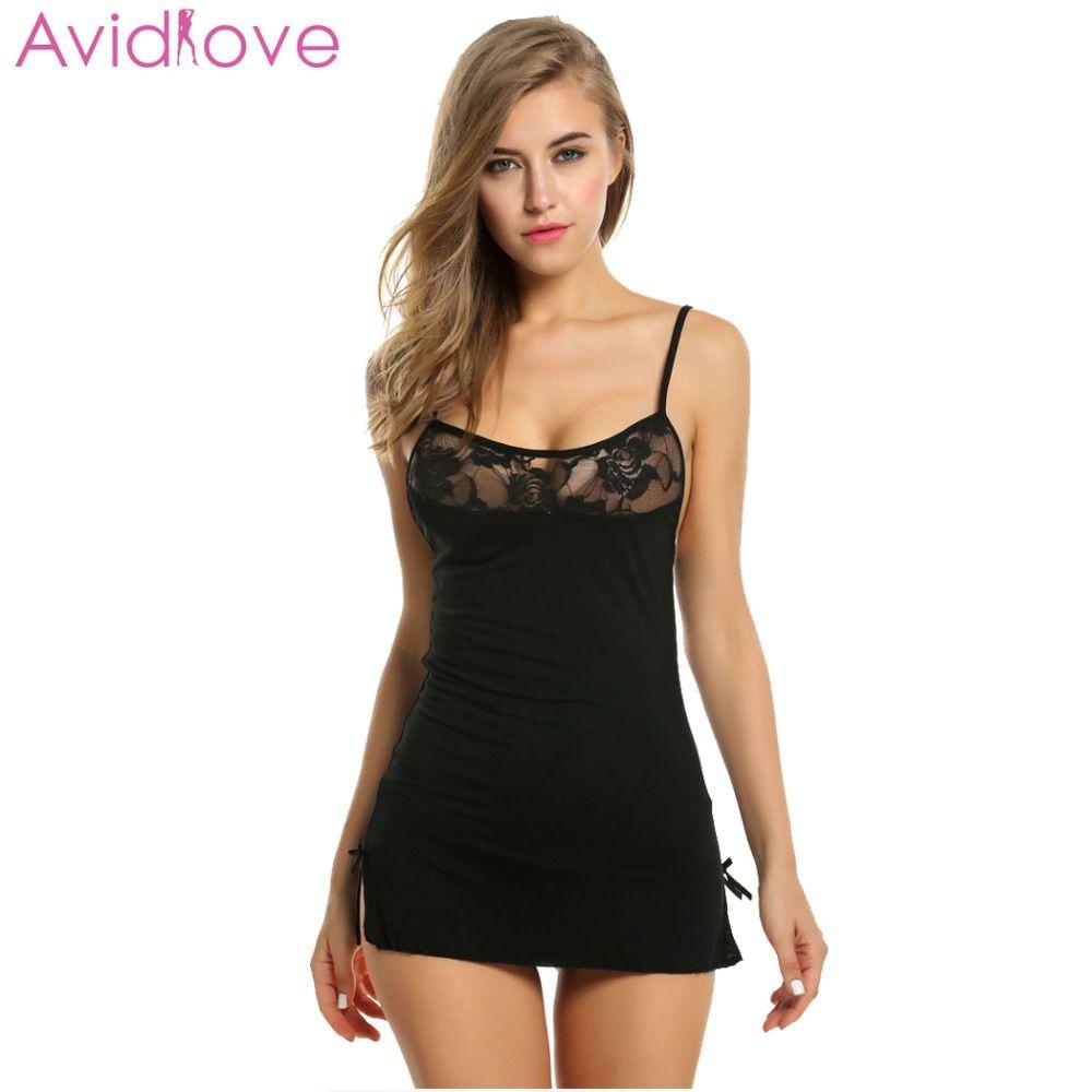 Avidlove Femmes Sexy Dentelle chemise de Nuit Coton Nuisette Stretch Mini Robe De Nuit Sexy Lingerie Taille Plus Vêtements De Nuit Pour Les Femmes