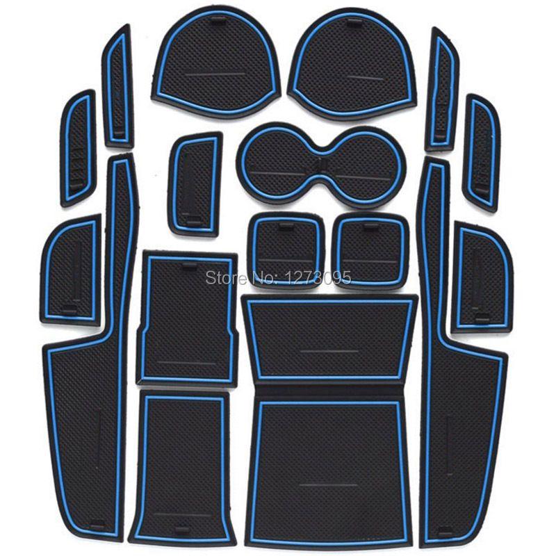 For 2015 2016 Suzuki Vitara Gate Slot Pad Non-slip Cup Mats Anti Slip Door Groove Mat Interior Car Styling Accessories 17pcs/set