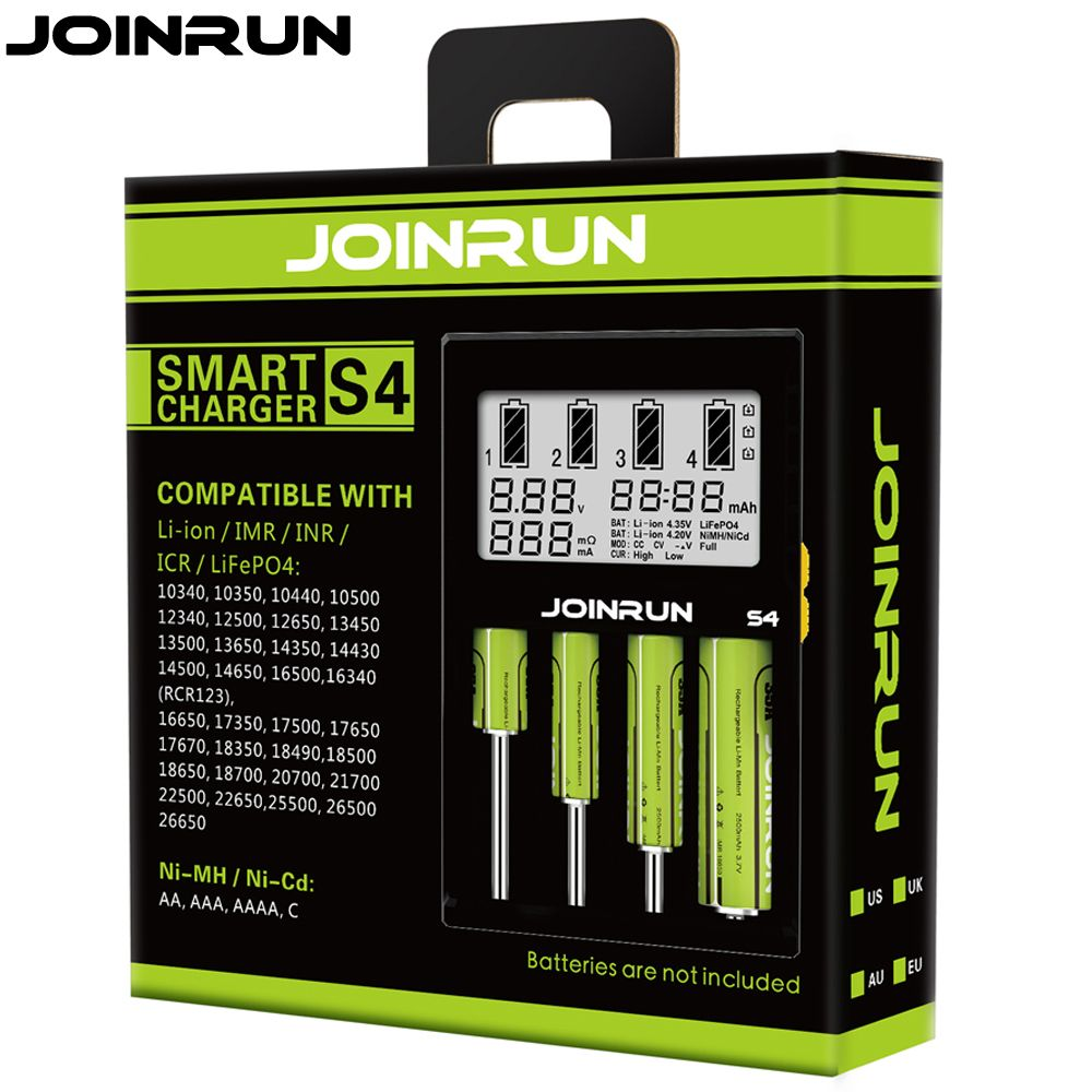 Joinrun S4 18650 charger white LCD Screen Smart Battery Charger Li-ion 18650 14500 16340 26650 AAA AA DC 12V Battery Charger
