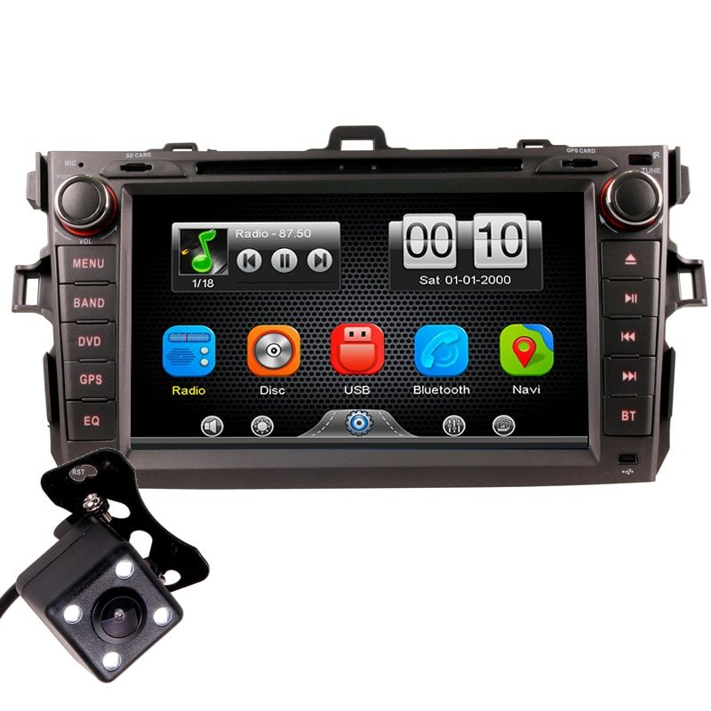 2Din Car In Dash DVD Player Radio Bluetooth Head Unit Stereos with Reverse Camera for Toyota COROLLA 07-11 (Without GPS)