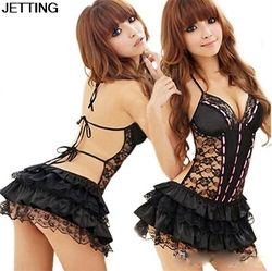 Señora mujeres Disfraces sexy de mujer lencería sexy vestido Hot Ropa interior backless Encaje ropa interior erótica + g-string negro color