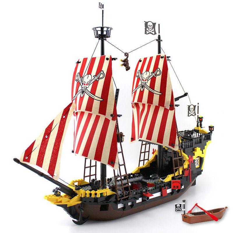 Éclairer les blocs 870 + pcs Pirates navire noir perle modèle blocs de construction éducatifs jouets de construction pour enfants enfants cadeau