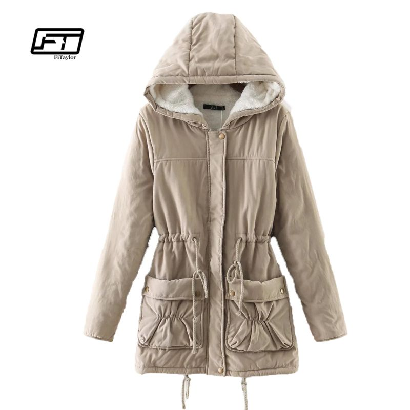 Fitaylor Winter Women Jackets Cotton Padded Medium Long Slim Hooded Parkas Casual Wadded Quilt Snow Outwear Warm Overcoat