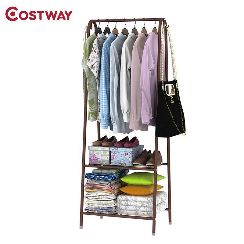 COSTWAY Simple Clothes Coat Rack Bedroom Floor Hanging Clothes Storage Shelves Balcony Multi-functional Drying Racks W0113