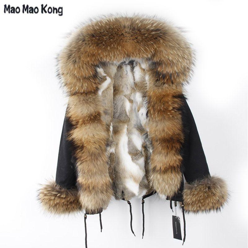 MaoMaoKong Women Large Raccoon Fur Collar Real Rabbit Fur Parka Detachable Hooded Jacket Real Rabbit Fur Liner Slim Fit Coats