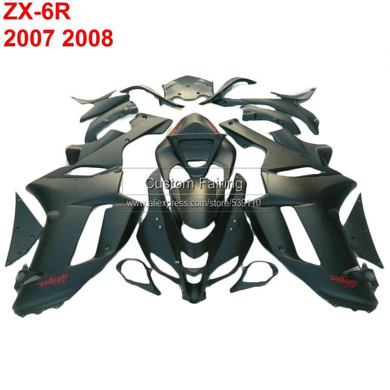 Nizza Benutzerdefinierte verkleidungen für Kawasaki zx6r zx 6r Ninja 07 08 2007 2008 alle schwarz Injection verkleidung kit xl30
