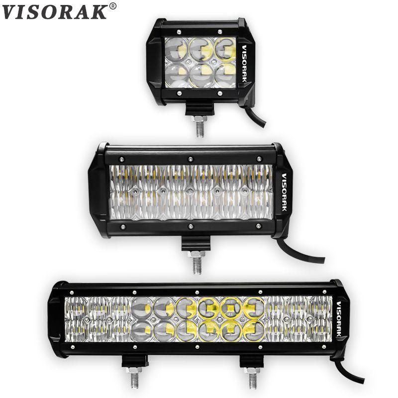 VISORAK 4 6.5 12 Inch LED Bar 5D Dual Row 30W 60W 120W LED Work Light Bar for Tractor Boat OffRoad 4WD 4x4 Truck SUV ATV 12V 24v