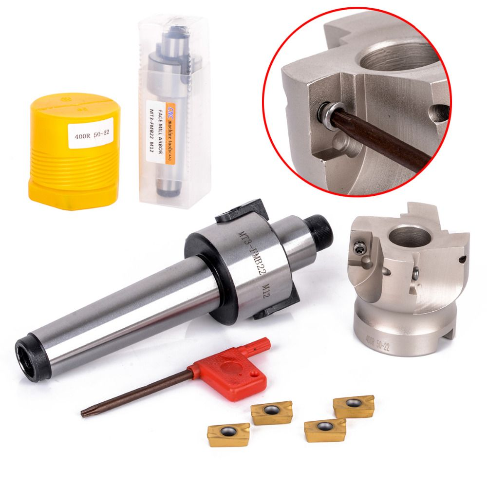 1pc 50mm Face End CNC Mill Cutter MT3-FMB-Shank + 4pcs APMT1604 Carbide Inserts with Wrench For Cutting Tools