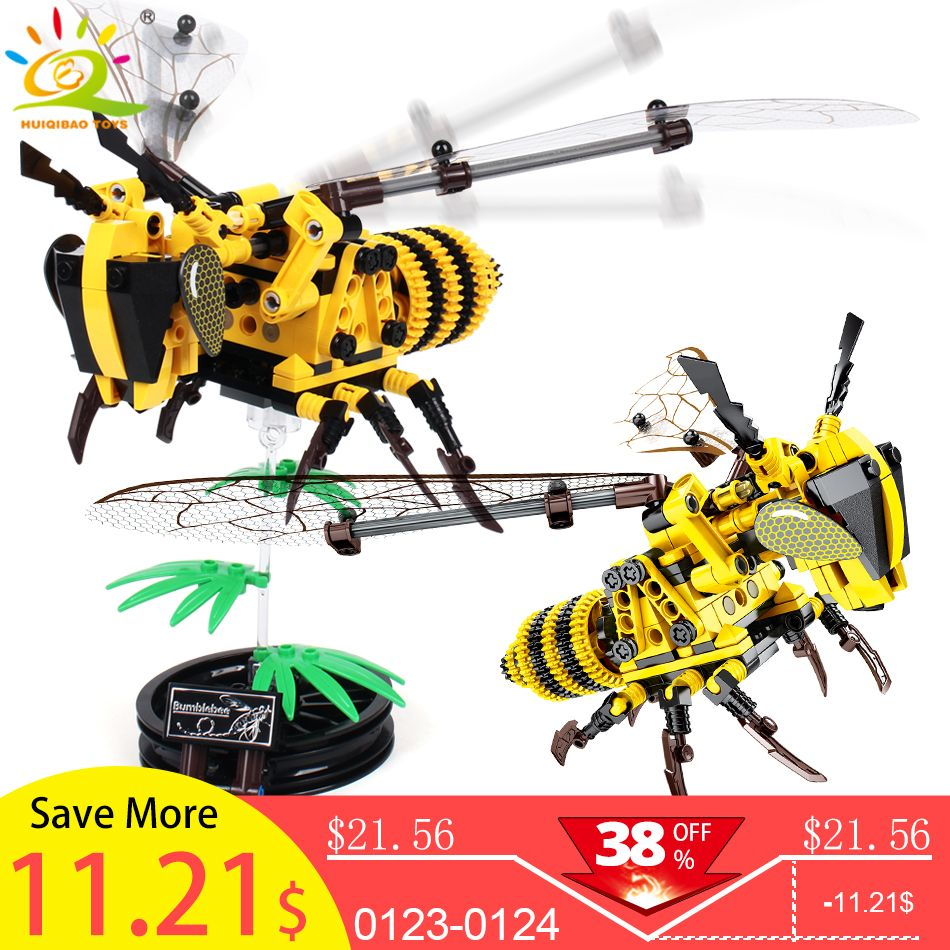 236 pièces Simulé insectes bricolage Abeille modèle blocs de construction Compatible Avec Légèreté Technique briques ensemble enfants jouets éducatifs Pour enfants