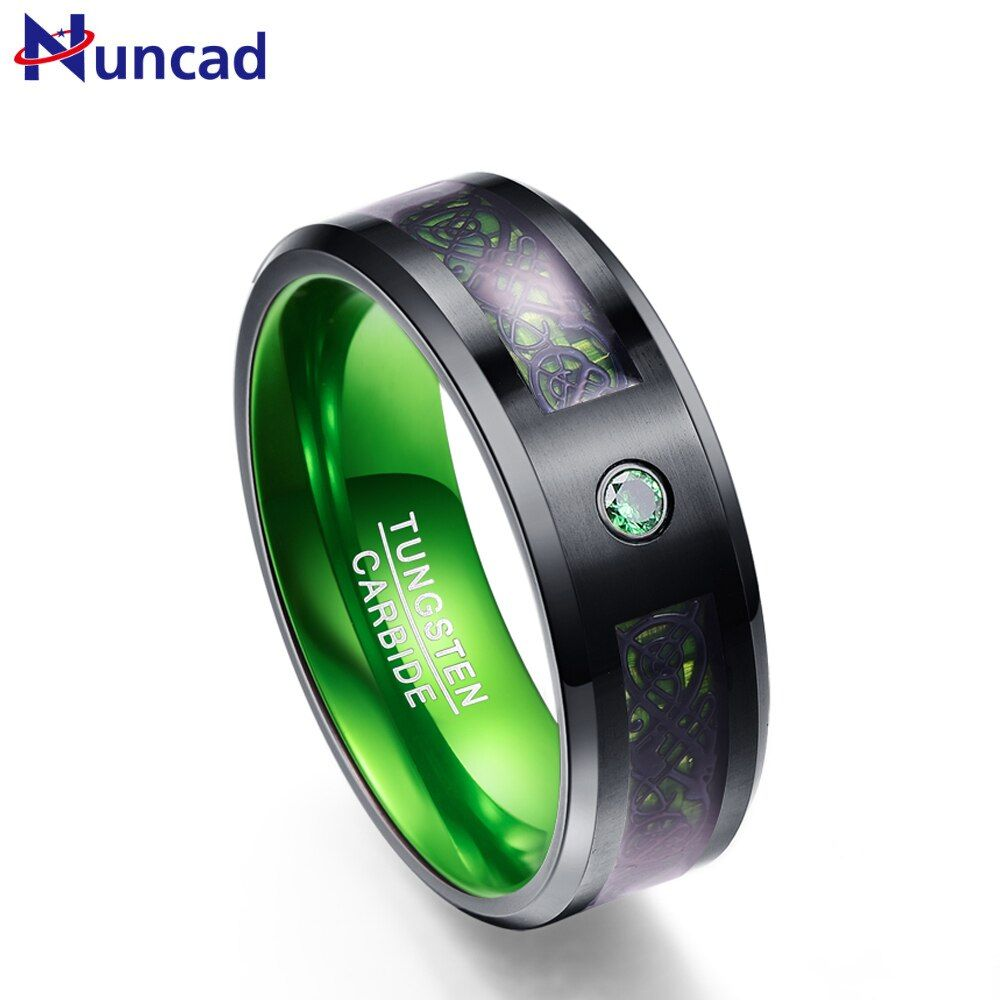 Nuncad T046R 8MM wide green carbon fiber Tungsten Carbide Rings for woman men party wedding ring US size 7-12