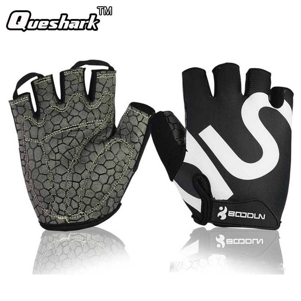 Queshark Gym Gloves Men Women Body Building Half Finger Fitness Gloves An-slip Weight Lifting Sports Training Fingerless Gloves