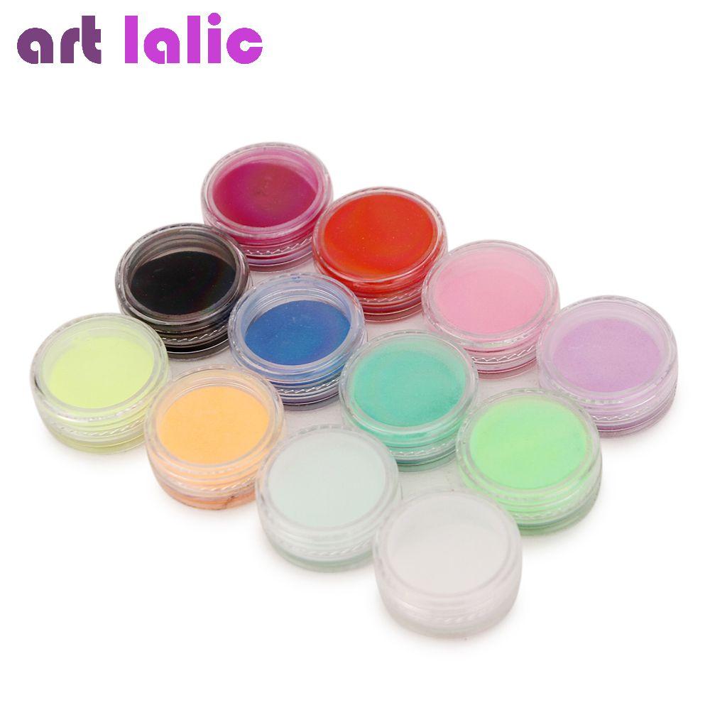 Nail art 12 Farben Acrylpuder-staub UV Gel 3D Tipps Builder Dekoration Maniküre
