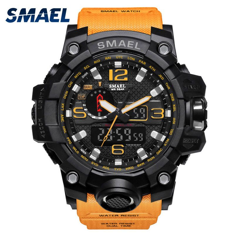 SMAEL watch in dual display watches men waterproof led sports relogio masculino S SHOCK Orange Sport digital military watch 1545