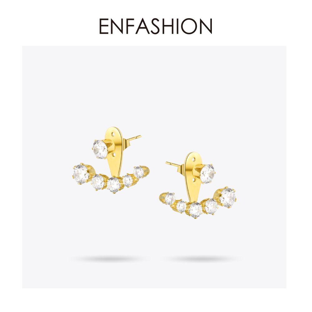 Boucles d'oreilles en cristal Enfashion couleur or zircone pierre boucles d'oreilles en acier inoxydable boucle d'oreille pour femmes bijoux en gros E5208