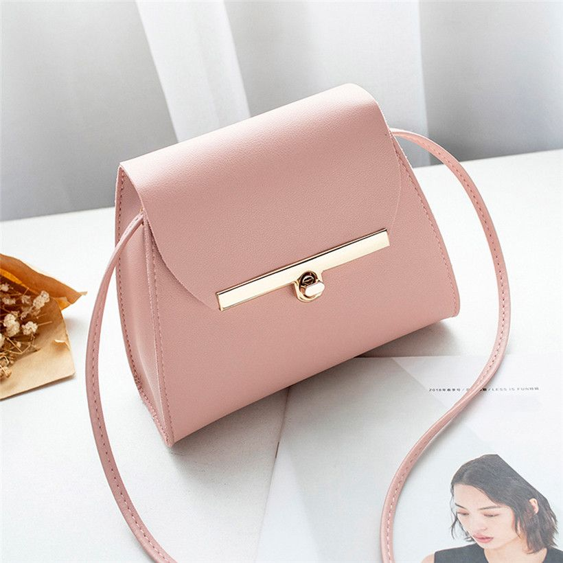 Simple Flap Shoulder PU Leather Bags Women Girls Pure Color Mini Messenger Chest Bag Cross body Handbags bolsa feminina