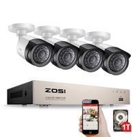 ZOSI безопасности Камера Системы 4ch CCTV Системы DVR безопасности Системы 4ch 1 ТБ 4x1080 P безопасности Камера 2.0mp камера DIY Наборы