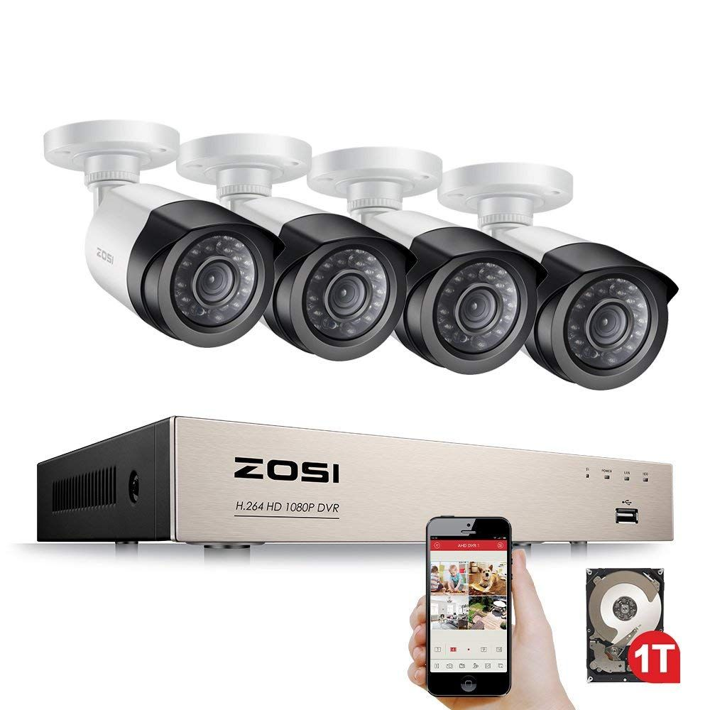 ZOSI Security Camera System 4ch CCTV System DVR Security System 4CH 1TB 4 x 1080P Security Camera 2.0mp Camera DIY Kits