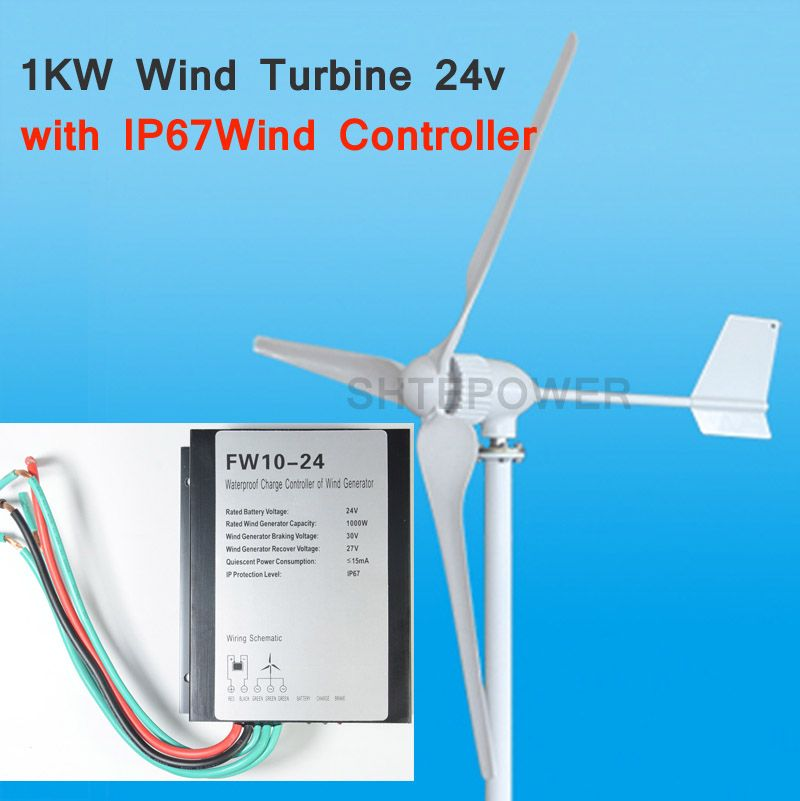 1KW 1000W wind turbines,three blades 3 phase AC 24V/48V options AC wind charger controller LED light waterproof
