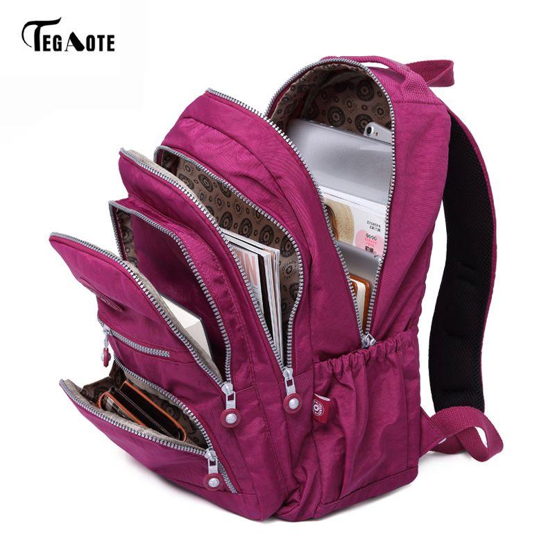 TEGAOTE School Backpack for Teenage Girl Mochila Feminina Women Backpacks Nylon Waterproof Casual Laptop Bagpack Female Sac A Do