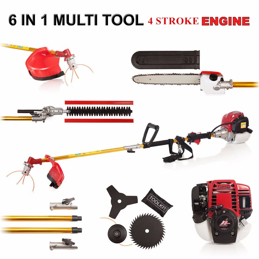 4 stroke GX35 engine 6 in 1 Petrol Hedge Trimmer Chainsaw Strimmer Brush Cutter Extender Garden Tool factory selling