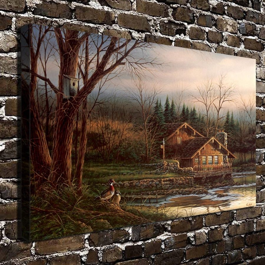 A798 Terry Redlin Changing Seasons-Spring Scenery.HD Canvas Print Home decoration Living Room bedroom Wall pictures Art painting