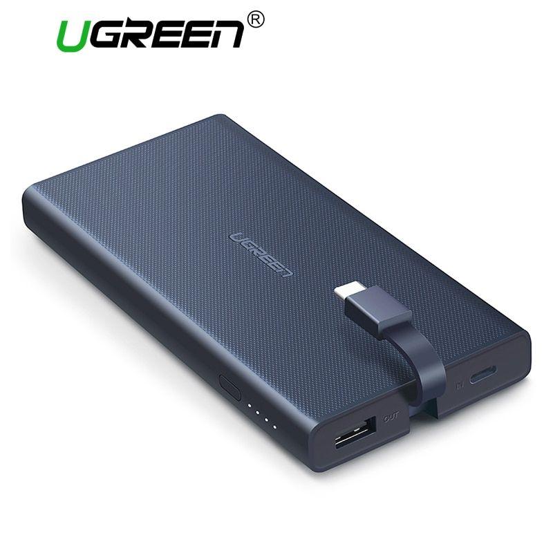Ugreen Quick Charge Power Bank 10000mAh Portable External Battery <font><b>Pack</b></font> with Built-in Type C Cable Powerbank for Xiaomi Huawei