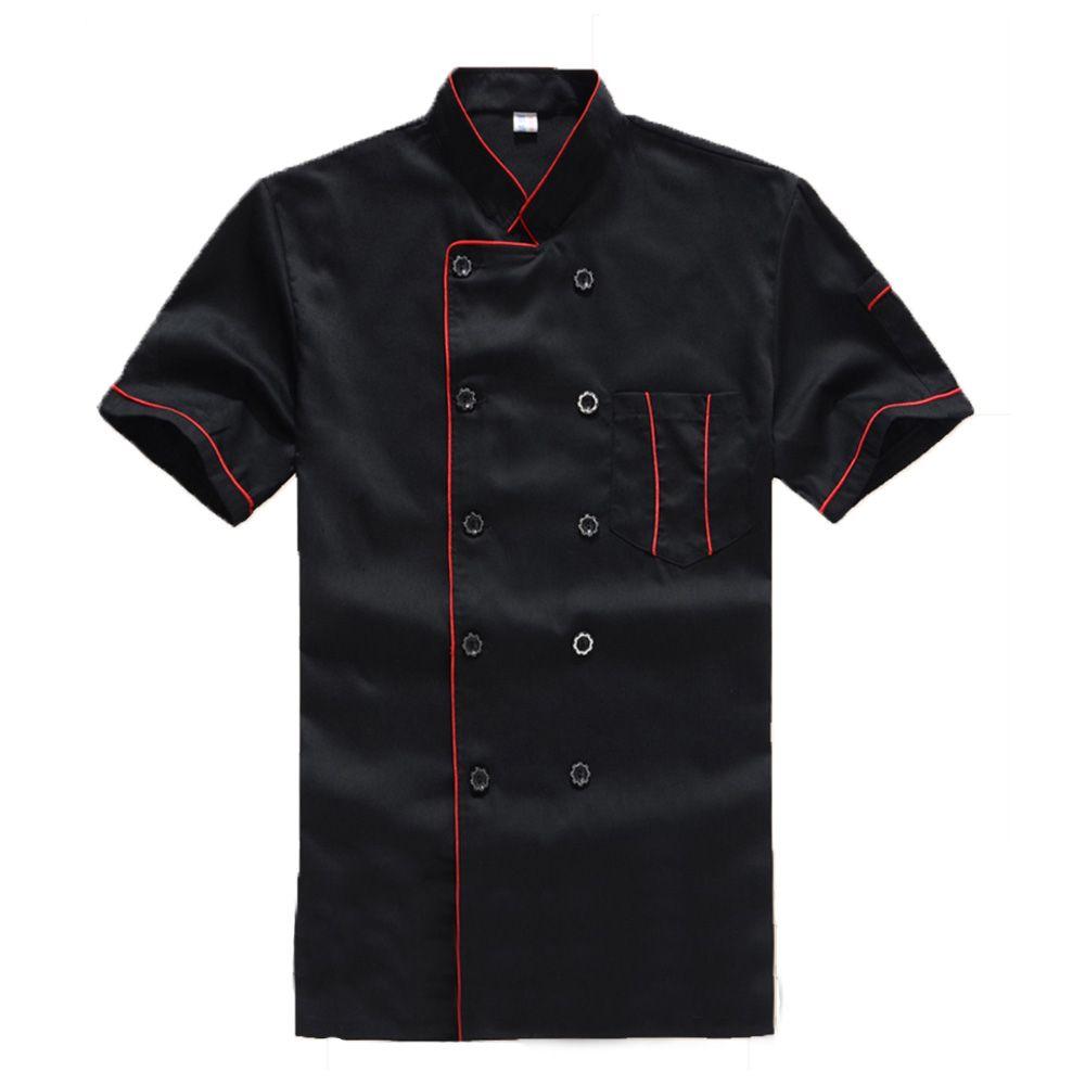 Nueva alta calidad negro restaurante Hotel cocinero traje de cocinero manga corta Hombre Mujer ropa de trabajo uniforme