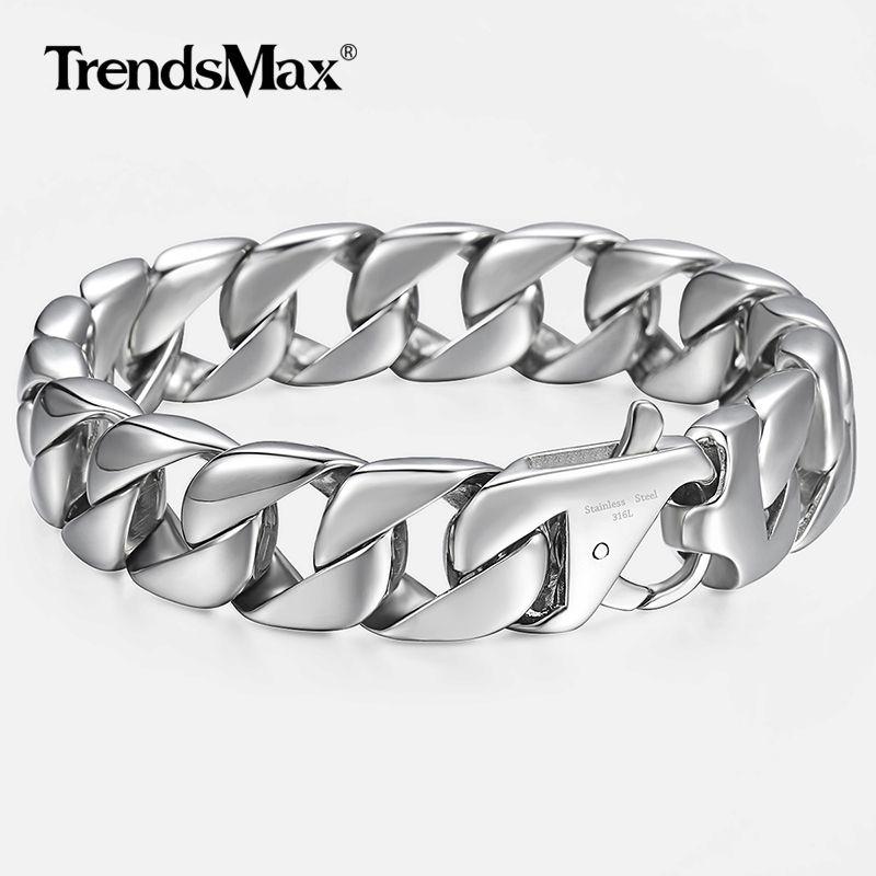 14mm hommes Bracelet argent 316L acier inoxydable rond gourmette cubaine lien chaîne Bracelets hommes bijoux cadeau chaud pour hommes 8.62