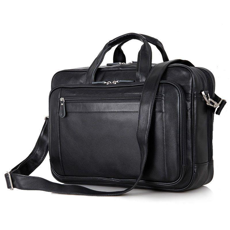 Black Real Skin Genuine Leather Men Messenger Bags Cowhide 15.6'' laptop Man Briefcase Portfolio Business Travel Bags #M7367