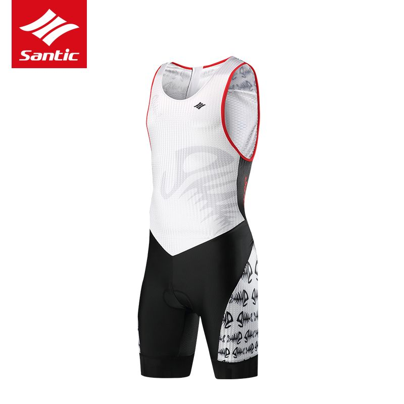 Santic 2018 New Arrival Pro Mens Triathlon Cycling Jersey Sleeveless Cycling Skinsuit One-piece Racing Bike Bicycle Jersey