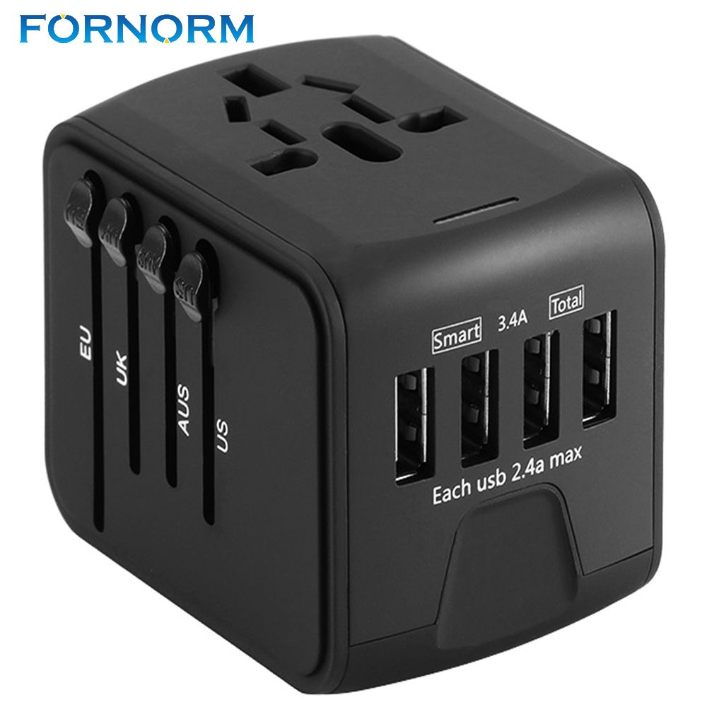 FORNORM Travel Adapter International Universal Power Adapter All-in-one with 6.3A 4 USB Worldwide Wall Charger for UK/EU/AU/Asia
