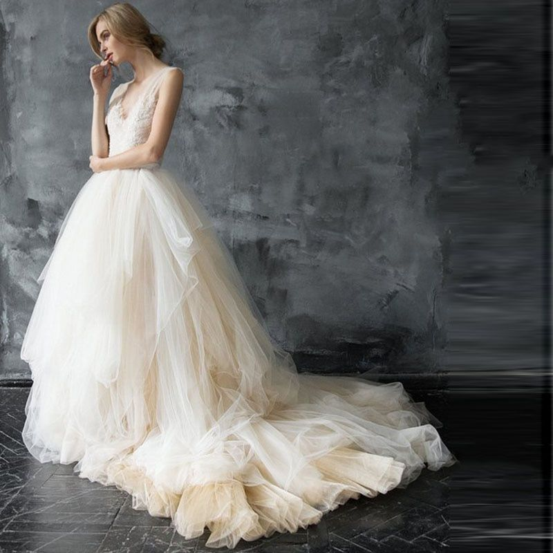 LORIE Princess Wedding Dress 2019 Appliques Lace V Back A Line White Ivory Wedding Gown with train Tulle Bride Dress Custom Made