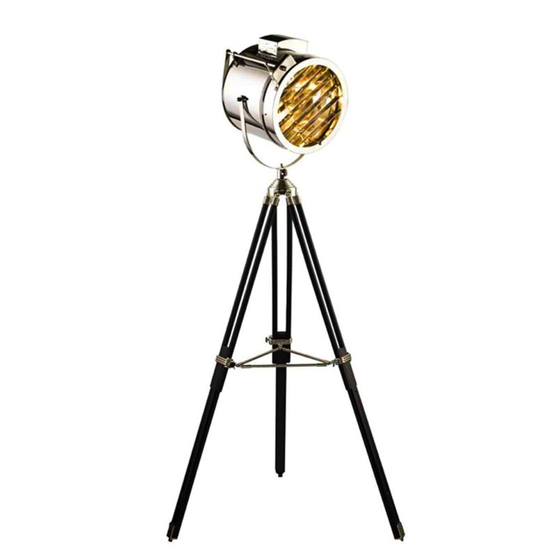 Post Modern searchlight Floor Light tripod base gold chrome lampshade metal Creative Nightstand lamp E27 led bulb free shipping